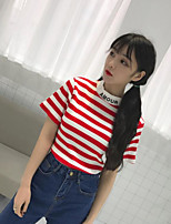 Women's Casual/Daily Simple T-shirt,Striped Round Neck Short Sleeve Cotton