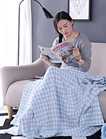 KnittedSolid Plaid/Check 100% Cotton Blankets