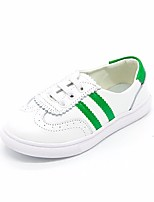 Girls' Flats Spring Fall First Walkers PU Outdoor Casual Low Heel Magic Tape White/Green Black/White Walking