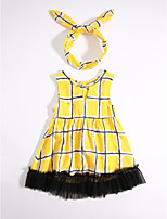 Girl's Casual/Daily Houndstooth Dress,Cotton Summer