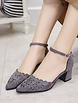 Women's Heels Spring Fall Club Shoes Comfort Suede Hollow Out Breathe Freely  Office & Career Party & Evening Dress Chunky Heel Buckle Gray Black