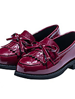 Girls' Flats Spring Fall First Walkers PU Outdoor Casual Low Heel Magic Tape Burgundy Black Walking