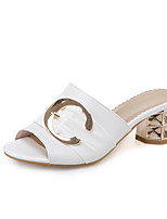 Women's Slippers & Flip-Flops Summer Fall Slingback PU Dress Casual Chunky Heel Buckle Black White