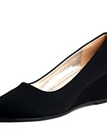 Women's Loafers & Slip-Ons Spring Fall Comfort Fleece Dress Casual Wedge Heel Black