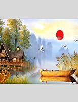 מצויר ביד L ו-scape האופקי פנורמי,מודרני קלאסי פנל אחד בד ציור שמן צבוע-Hang For קישוט הבית