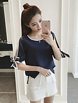 Women's Casual/Daily Cute Blouse,Solid Color Block Round Neck Short Sleeve Polyester