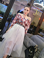 Women's Going out Casual/Daily Holiday Cute Street chic T-shirt Skirt Suits,Floral Off Shoulder