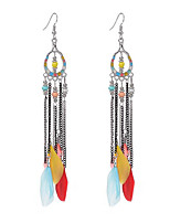 2017 Summer Popular Fashion Bohemia Beads Feather Earrings Long Tassel Pendant Earrings For Women Jewelry Accessories