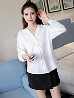 Women's Going out Vintage Shirt,Solid V Neck Long Sleeve Cotton
