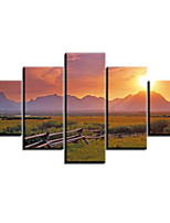 Art Print Landscape Pastoral Five Panels Horizontal Print Wall Decor For Home Decoration