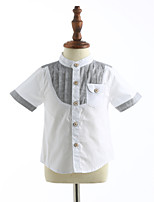 Casual/Daily Print Shirt,Cotton Summer Short Sleeve