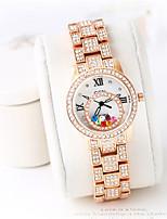Женские Модные часы Японский кварц Защита от влаги Имитация Алмазный сплав Группа Cool Повседневная Серебристый металл Розовое золото