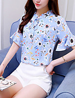 Women's Going out Casual/Daily Simple Boho Summer Fall Blouse,Print Round Neck Short Sleeve Silk Opaque