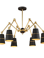 6 Lights Chandelier Vintage Brass Rose Rust Painting Color Metal for Living Room Bedroom E14