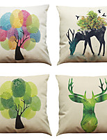 Set of 4 Creative Fingerprint Tree  Pattern  Linen Pillowcase Sofa Home Decor Cushion Cover