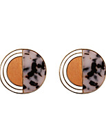 Fashion Women   Circle  Shape   Acrylic  And Wood  Stud Earrings