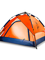 3-4 persons Tent Double Automatic Tent One Room Camping Tent 2000-3000 mm Fiberglass Oxford Waterproof Portable-Hiking Camping-Orange