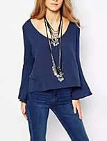 Для женщин На выход На каждый день Лето Осень Блуза Глубокий U-образный вырез,Секси Простое Уличный стиль Однотонный Длинный рукав,Хлопок,