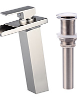 Contemporary Centerset LED Waterfall with  Ceramic Valve Single Handle One Hole for  Nickel Brushed , Bathroom Sink Faucet