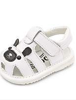 Boys' Baby Sandals First Walkers Cowhide Summer Casual First Walkers Flat Heel White Black Flat