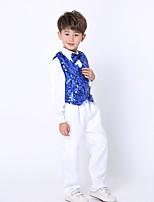 Jazz Outfits Kid's Performance Spandex Sequined 3 Pieces Long Sleeve Natural Top Vest Pants