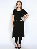 Tee-shirt Femme,Couleur Pleine Décontracté / Quotidien Grandes Tailles Sexy simple Actif Printemps Eté Manches Courtes Col Arrondi Modal