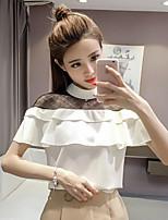 Для женщин На каждый день Лето Блуза Вырез лодочкой,Простое Однотонный С короткими рукавами,Хлопок,Средняя