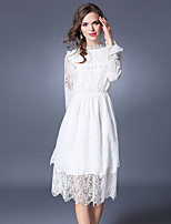 Spring Fall Women's Dresses Going out Casual/Daily Party Cute  Lace Dress Solid Stand Long Sleeve Dress