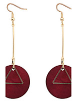Euramerican Personalized Rock Simple Triangle Circle Wood Earrings Lady Business Statement Jewelry
