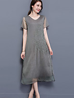 Women's Plus Size Casual/Daily Street chic Loose Dress,Embroidered Round Neck Midi Short Sleeve Nylon Summer Mid Rise Micro-elastic Medium