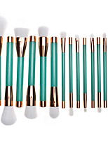 15pcs Green Contour Brush Makeup Brush Set Blush Brush Eyeshadow Brush Lip Brush Brow Brush Eyelash Comb (Round) Eyelash Brush Concealer Brush Powder
