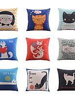 9 pcs Lin Nouveaux Oreillers Taie d'oreiller Oreiller de corps Oreiller de voyage Canapé Coussin,Imprimé animal Vacances Imprimés Photos