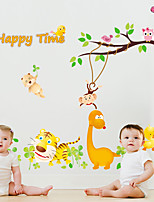 Cartoon Zoo Family Owl Tiger Happy Time Wall Stickers Children's Room Wall Decals