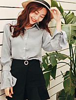 Women's Going out Casual/Daily Simple Shirt,Solid Shirt Collar Long Sleeve Others