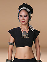 Tribal Belly Dance Tops Women's Training Cotton 1 Piece Short Sleeve Top Belly Dance Gypsy Top