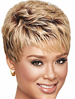 Short Brown Straight Women Synthetic Wig Fiber Cheap Cosplay Party Wig Hair