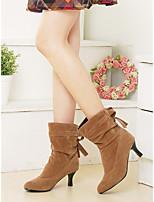 Damen-Stiefel-Kleid-Kunstleder-Kitten Heel-Absatz-Komfort-
