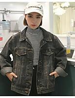 Women's Casual/Daily Simple Winter Denim Jacket,Solid Shawl Lapel Regular Linen