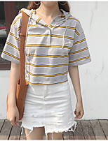 Women's Casual/Daily Simple Spring Summer T-shirt,Striped Asymmetrical Short Sleeve Cotton Opaque