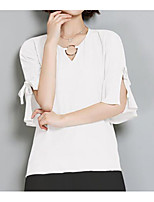 Women's Casual/Daily Simple Blouse,Solid V Neck Short Sleeve Cotton Thin