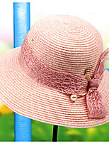 Beach Color Block Sunscreen Shading Solid Mesh Patchwork Straw Hat Sun Hat