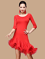 Shall We Latin Dance Dresses Women Polyester Tulle 2 Pieces Dance Costume