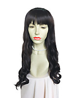Women Wig Long Deep Wavy Synthetic Fiber With Beat Bangs Costume Wig