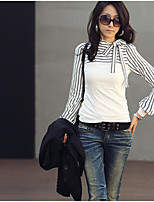 Women's Going out Street chic Spring Shirt,Striped Stand Long Sleeve Cotton Thin
