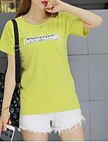 Tee-shirt Femme,Imprimé Décontracté / Quotidien simple Printemps Eté Manches Courtes Col Arrondi Coton Fin