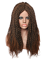Fashion Long Brown Braided Wigs for black Women Synthetic Hair Party Wig for Ladies