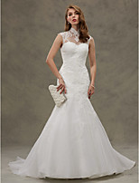 LAN TING BRIDE Trumpet / Mermaid Wedding Dress - Chic & Modern Beautiful Back Court Train High Neck Organza with Appliques Button