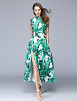 Summer Women's Dresses Casual/Daily Party Sexy Sleeveless Print Maxi Dress