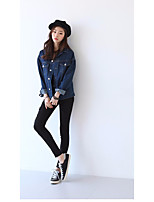 Women's Going out Casual/Daily Simple Street chic Active Spring Fall Denim Jacket,Solid Shirt Collar Regular Cotton Others