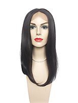 Jet Black Lace Front Wigs Synthetic Wig Long Straight Silk Fiber Hair For Black Women